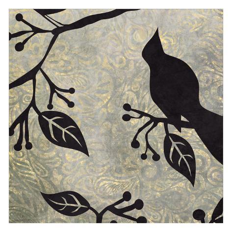 Birds & Leaves B&G 2 Art Print