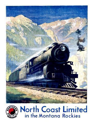 North Coast Limited Railroad, Montana Rockies Giclee Print