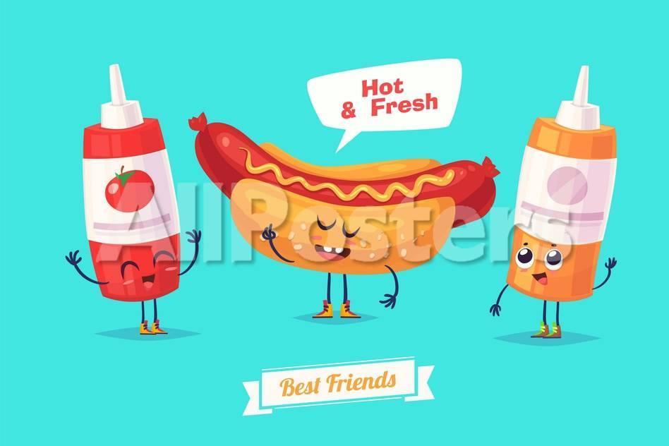 6e2d3bdcd60 Set of Breakfast Characters. Vector Cute Cartoons Prints by Krolone at  AllPosters.com
