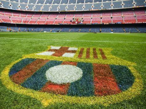 Coat of Arms of Futbol Club Barcelona at Camp Nou Stadium Photographic Print