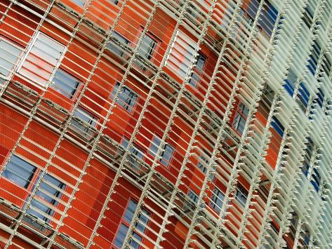 Facade Detail of the Torre Agbar, Barcelona, Catalonia, Spain Photographic Print