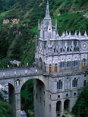 Santuario De Las Lajas Neo-Gothic Church, Las Lajas, Colombia Photographic Print