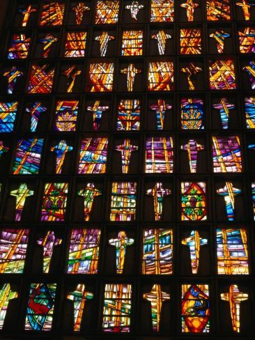 Stained Glass Windows of the Modern Cathedral, Barranquilla, Colombia Photographic Print