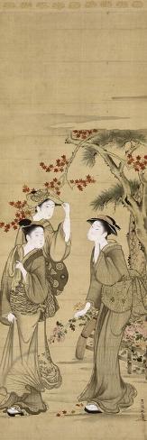 Trois jeunes femmes sous les érables rouges Stampa giclée