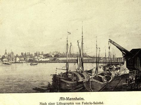 Künstler Federle, Salathé, Mannheim, Altstadt, Hafen Stampa giclée