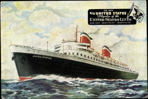 Künstler S.S. United States, United States Lines, Usl Giclee Print