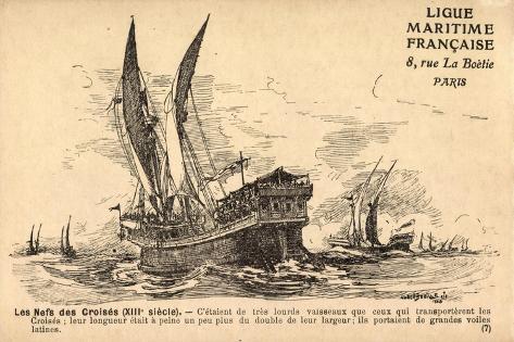 Künstler Segelschiffe, 13E Siècle,Croisés,Frankreich Giclee Print