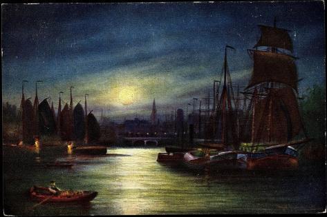 Künstler Segelschiffe Im Hafen, Mond, Tsn Serie 820 Giclee Print