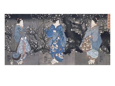 An Oban Triptych Depicting a Nocturnal Scene with Three Bijin Giclee Print