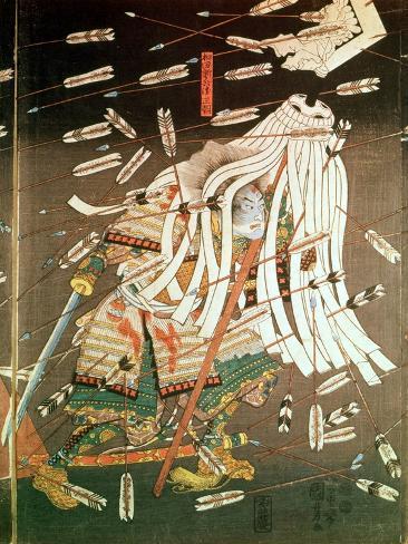 The Last Stand of the Kusanoki Clan, the Battle of Shijo Nawate, 1348, circa .1851 Lámina giclée