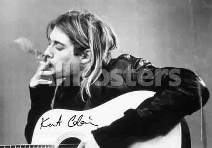 Kurt Cobain Smoking With Guitar Black White Music Poster Print