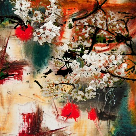 Spring Motif, Abstract Background Oil Painting and Mixed Media Stampa artistica