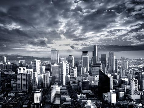 Black and White Seattle Cityscape Photographic Print