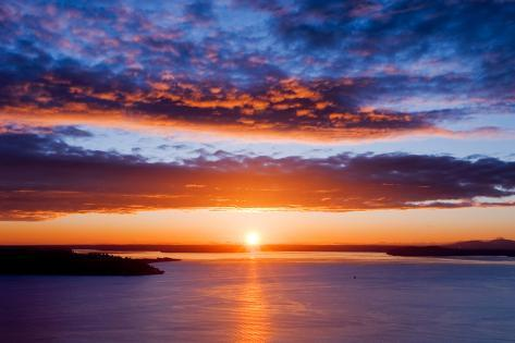 Sunset over Puget Sound, Seattle Photographic Print