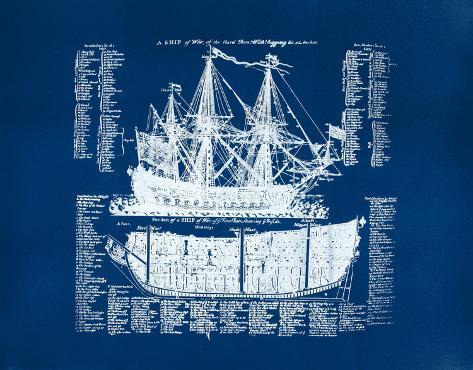 Old Ship Diagram (blue) Serigraph