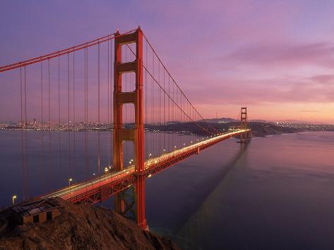 Golden Gate Bridge at Sunset, CA Photographic Print