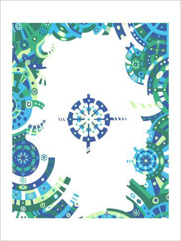 Color Melody: Blue Image and Life of People Machine Cogwheel Giclee Print