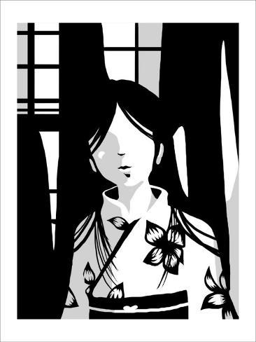 Japanese Kiri-e: Woman with Floral Kimono Framed Giclee Print