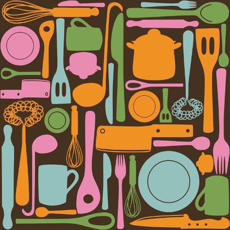Kitchen Utensils - Seamless Pattern Taidevedos
