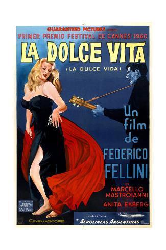 La Dolce Vita, Anita Ekberg, Argentinian Poster Art, 1960 Impressão giclée