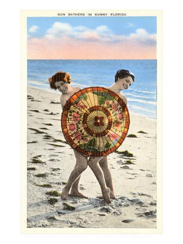 Ladies Behind Parasol, Florida Art Print