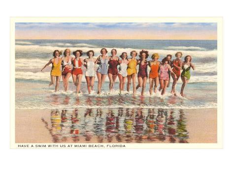 Ladies in Surf, Miami Beach, Florida Art Print