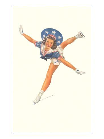 Lady Ice Skater with Patriotic Outfit Art Print
