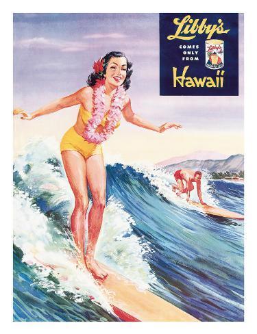 Surfer Girl, Libby's Pineapple Poster 1957 Giclee Print