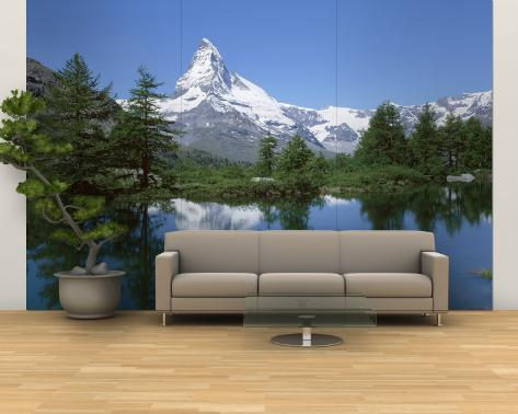 Lake, Mountains, Matterhorn, Zermatt, Switzerland Wall Mural – Large