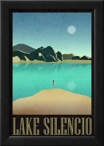 Lake Silencio Retro Travel Poster Lamina Framed Poster