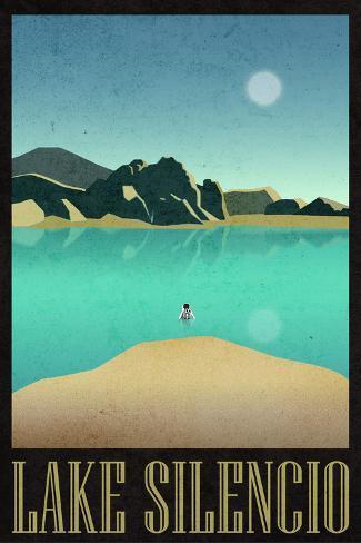 Lake Silencio Retro Travel Poster Poster