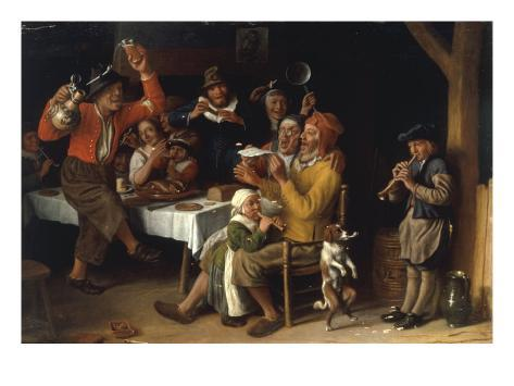 An Interior with Peasants Singing and Dancing Around a Table, 1681 Giclee Print