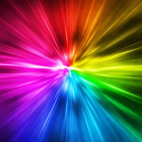 light speed spectrum of rainbow colored rays photographic print by