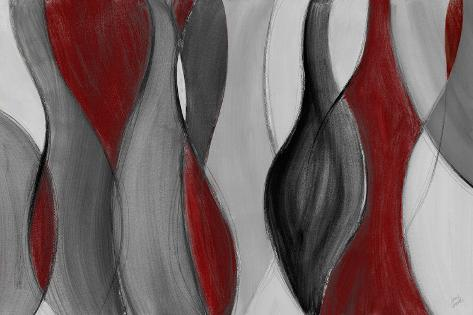 Coalescence (red, gray, black) Art Print