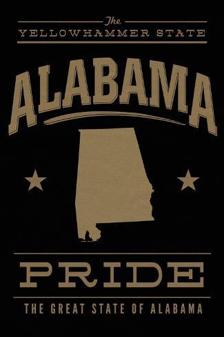 Alabama State Pride - Gold on Black Art Print