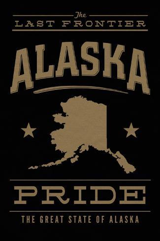 Alaska State Pride - Gold on Black Art Print