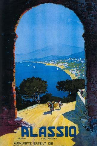 Alassio, Italy - West Italian Riviera Travel Poster - Alassio, Italy Art Print
