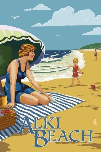 Alki Beach, West Seattle, WA - Woman on Beach Art Print