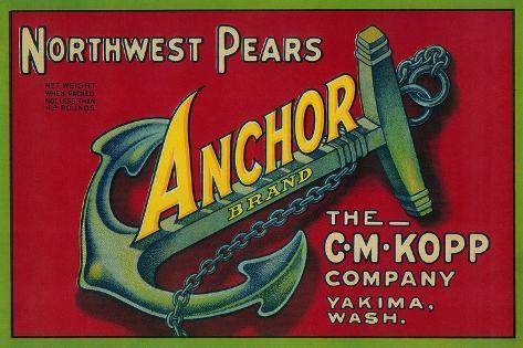 Anchor Pear Crate Label - Yakima, WA Art Print