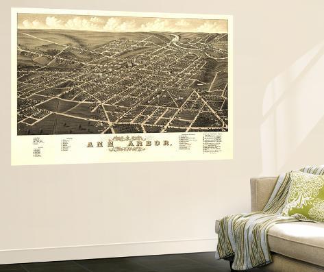 Ann Arbor Michigan Panoramic Map Wall Mural By Lantern
