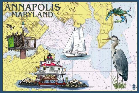 Annapolis, Maryland - Nautical Chart Art Print