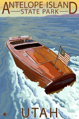 Antelope Island State Park, Utah - Wooden Boat Art Print