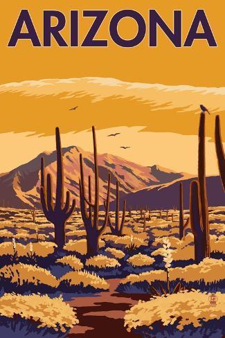 Arizona Desert Scene with Cactus Art Print