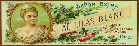 Au Lilas Blanc Soap Label - Paris, France Stampa artistica