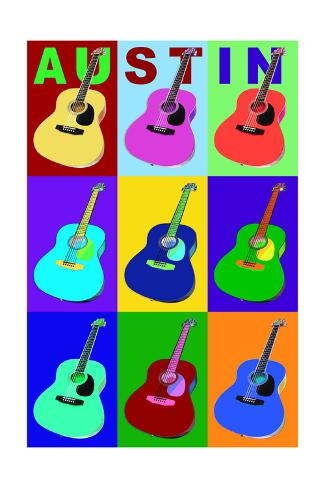 Austin, Texas - Acoustic Guitar Pop Art Art Print