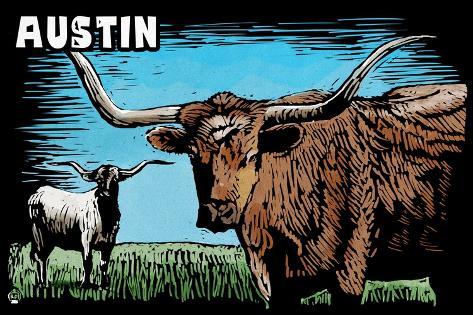 Austin, Texas - Longhorn - Scratchboard Art Print