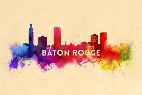 Baton Rouge, Louisiana - Skyline Abstract Premium Giclee Print