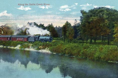 Battle Creek, Michigan - Train Along the Battle Creek River Scene Art Print