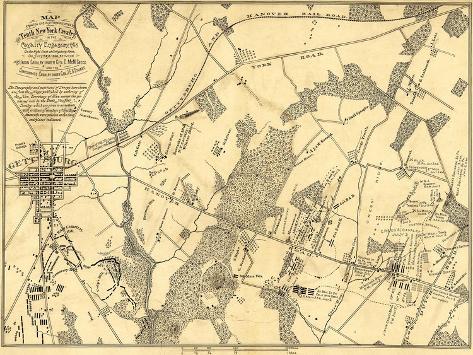Battle of Gettysburg - Civil War Panoramic Map Art Print