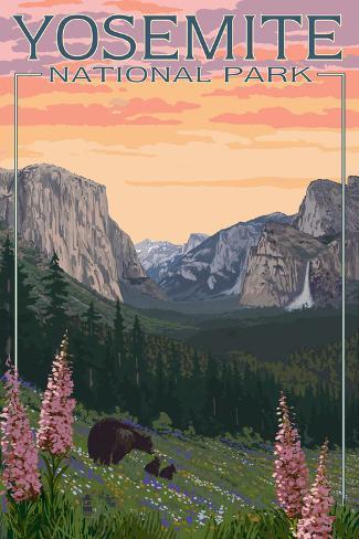 Bears and Spring Flowers - Yosemite National Park, California Art Print